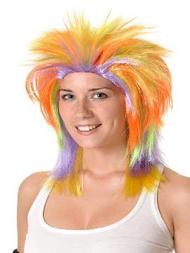 peluca de punky multicolor de chica sin flequillo