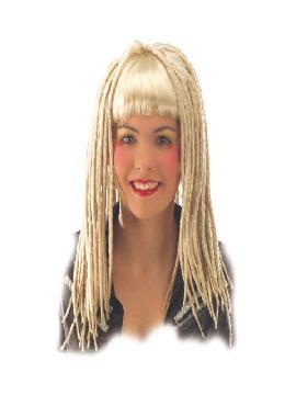 peluca rubia con rastras y flequillo