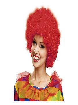 peluca rizada de payaso roja