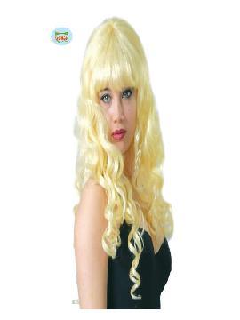 peluca rizos rubia con flequillo adulto