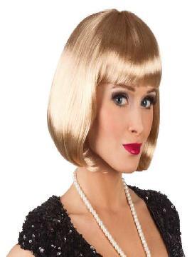 peluca corta rubia cabaret con flequillo