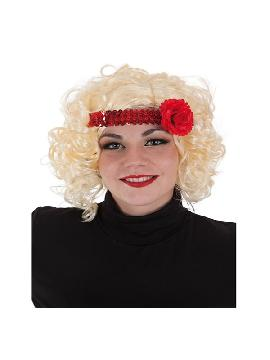 peluca rubia de charleston con cinta