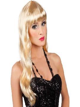 peluca rubia larga con flequillo