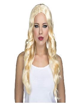 peluca rubia larga ondulada