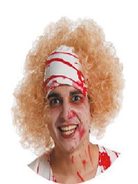 peluca rubia sangrienta con venda de terror