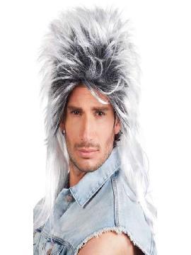 peluca ryan rock negro y gris larga