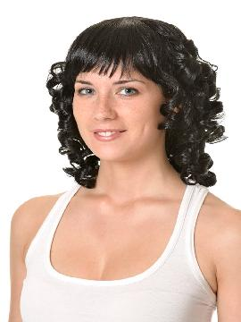 peluca tirabuzones con flequillo morena ondulada