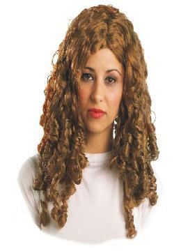 peluca epoca con tirabuzones rubia