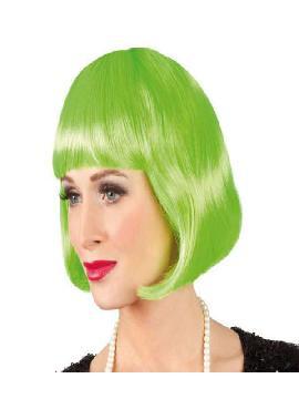 peluca verde cabaret con flequillo