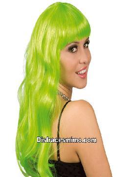 peluca larga verde con flequillo