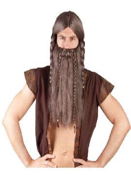 Peluca de vikingo marrón con barba. Este complemento es perfecto para caracterizar tu disfraz de vikingo, guerrero bárbaro, troglodita primitivo, o pirata y causar sensación en Carnavales y Fiestas de Disfraces de guerreros Y árabes.pelucas para disfraces