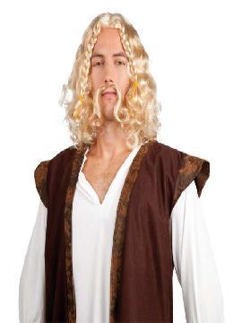 peluca de vikingo con bigote rubia