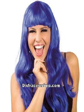peluca larga violeta con flequillo
