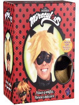 peluca y antifaz de cat noir en caja para hombre