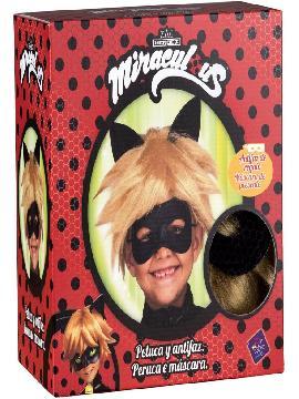 peluca y antifaz de cat noir en caja para niño