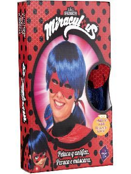 peluca y antifaz de ladybug en caja para mujer
