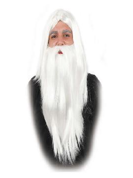 peluca y barba larga blanca de mago