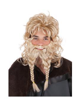 peluca y barba vikingo con trenzas rubia