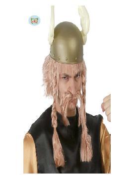 peluca y bigote de vikingo adulto