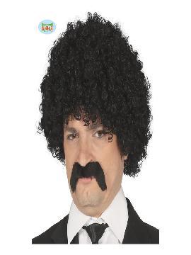 peluca y bigote morena rizada hombre
