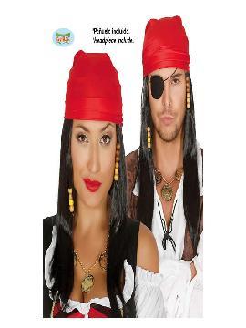 peluca y pañuelo de pirata negra