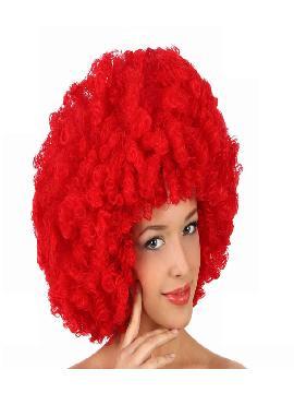 peluca afro gigante roja