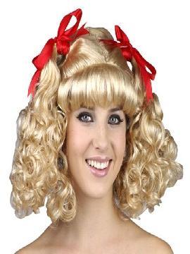 peluca de animadora rubia con coletas
