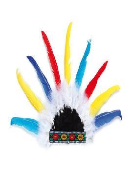 penacho de indio con plumas de colores
