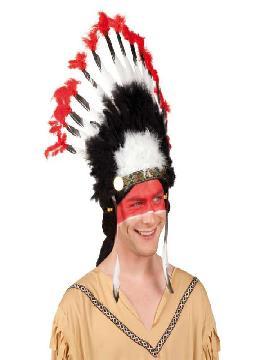 penacho indio blanco negro rojo