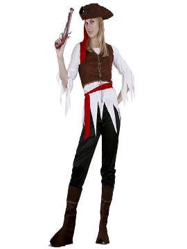 disfraz de pirata caribeña con pantalon mujer. Con este traje conserva la estética más clásica de estos vándalos que surcaban los mares en busca de botines y mercancías que robar.Este disfraz es ideal para tus fiestas temáticas de disfraces piratas, bucaneros y corsarios de mujer adultos.