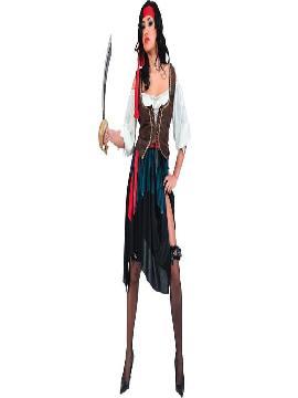disfraz pirata corsaria mujer adulto. Puedes disfrazarte por tu cuenta o combinarte con tu pareja corsaria para abordar con salvaje simpatía el Carnaval, Desfiles.Este disfraz es ideal para tus fiestas temáticas de disfraces piratas, bucaneros y corsarios de mujer adultos.