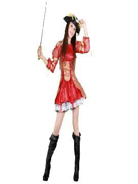 disfraz de moza pirata rojo adulto para mujer talla m/l bt 9636.Para que no te falte un detalle y seas una corsaria llena de glamour, el disfraz tiene un elegante sombrero de color rojo. Este traje de bucanera tan sexy y chic.Este disfraz es ideal para tus fiestas temáticas de disfraces piratas, bucaneros y corsarios de mujer adultos.