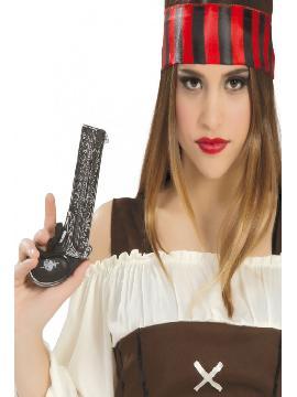 pistola pirata pequeña 21x16cm.Comprar vuestras armas originales para grupos, este complemento es para fiestas de bucaneros, piratas, policias... o para vuestros disfraces.