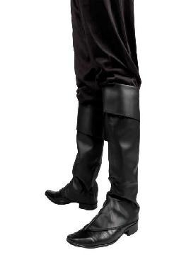 Polainas o cubre botas negras. para cualquier fiesta temática de caracterización como películas, piratas, mosqueteros, etc. Compra tu cubre pierna para tus zapatos barato para grupos, este complemento es ideal para tus fiestas mas divertidas y atrevidas con amigos.