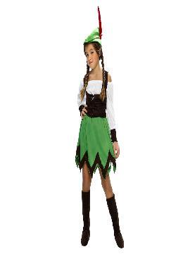 disfraz de robin hood chica varias tallas . disfraces infantiles de niña. incluye falda, camisa con chaleco, cubrebotas y sombrero.