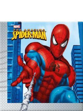 servilletas spiderman 20 unidades para cumpleaños