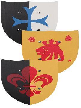 set 3 escudos de madera medieval 33x28 cm
