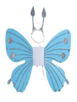 set alas de ninfa azules con diadema 55x40