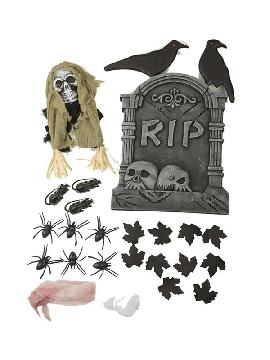 set de decoracion cementerio halloween de 54 cm