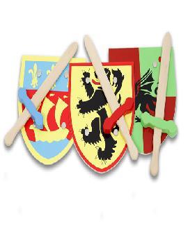 set de escudo y espada de madera surtidos 37 27x26 cm