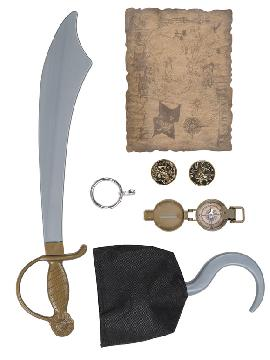 set de pirata con espada infantil 54cm. Comprar vuestros set de piratas baratos para grupos. Este complemento es para temáticas de pirata, corsarios o para vuestros disfraces.