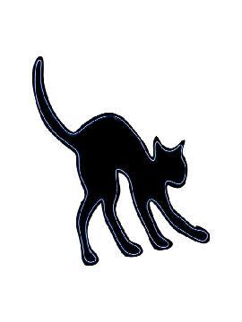 silueta de gato fluorescente 44x36 cm