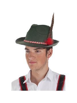 sombrero bavaro con cordon rojo para adultos