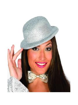 sombrero bombin escarcha plateado
