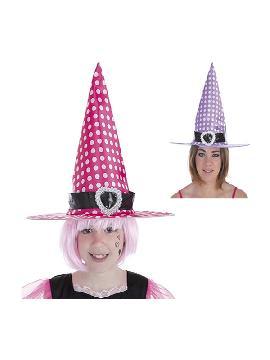 sombrero bruja con lunares en 2 colores surtidos