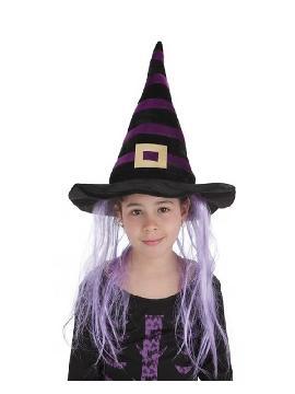 sombrero bruja rayas y pelo infantil