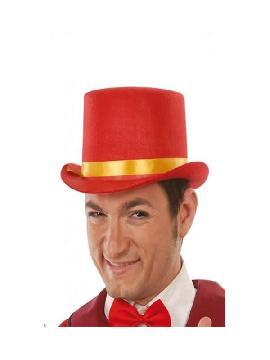 sombrero chistera roja fieltro