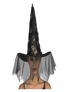 sombrero de bruja con calaveras