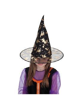 sombrero de bruja con dibujos dorados