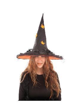 sombrero de bruja flores naranja mujer